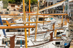 Porto Colom - Harbor Impression. Nice view at a small vintage harbor Stock Photos