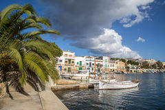 Porto Colom harbour. Small boats at Porto Colom boat harbour in Mallorca on a sunny day Royalty Free Stock Photo