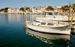 PORTO COLOM, MALLORCA,. PORTO COLOM in MALLORCA, BALEARIC ISLANDS, SPAIN, May 6, 2015. Mallorca, marina with boats, fishermen village in Porto Colom. Mallorca Royalty Free Stock Image