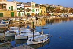 Porto Colom village. In Majorca at sunset (Balearic Islands - Spain Royalty Free Stock Photo