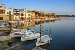 Porto Colom village. Porto Colom typical seaside village in Majorca (Spain) at sunset Royalty Free Stock Photo