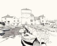Porto com barcos ilustração royalty free