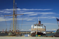 Porto com barcos, Lennusadam - porto do hidroavião Fotografia de Stock Royalty Free