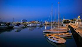 Porto com iate e barcos em Israel. Ashkelon. Foto de Stock Royalty Free