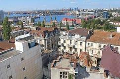 Porto Comercial e a casa com leões - Constanta Romênia 4 fotografia de stock