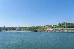 Porto con la U-barca H M. S Otus in Sassnitz fotografia stock
