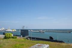 Porto con la U-barca H M. S Otus in Sassnitz fotografie stock