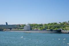 Porto con la U-barca H M. S Otus in Sassnitz immagini stock