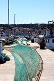 Porto con rete da pesca Immagine Stock Libera da Diritti