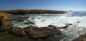 Porto Covo rocks and Pessegueiro Island stock photos