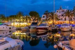 Porto Cristo dans des lumières de soirée Île de Majorque photo libre de droits