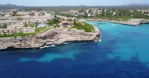 Porto Cristo, Majorca, Spain. Top aerial view of the resort Blau Punta Reina. Summer time stock footage
