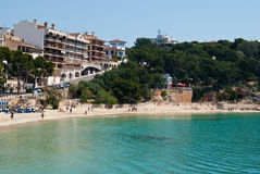 Porto Cristo street and the beach, Majorca, Spain Stock Photography