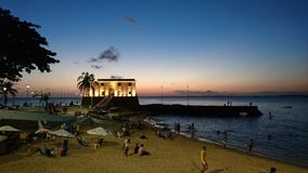 Porto da Barra beach and the Fort of Santa Maria royalty free stock photo