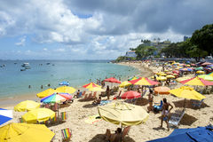 Porto da Barra Beach Salvador Bahia Brazil. Summer afternoon with bright colorful beach umbrellas stock photos