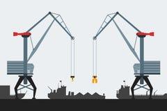 Porto da carga com guindastes e navios Estilo liso moderno do projeto Ícones simples do vetor Fotografia de Stock