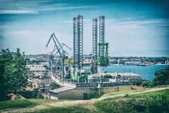 Porto da carga nos Pula, Croácia, filtro análogo foto de stock royalty free