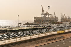 Porto da carga, transporte do carro, Eilat, Israel foto de stock