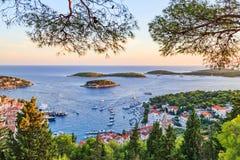 Porto da cidade de Hvar Fotografia de Stock Royalty Free