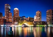 Porto de Boston na noite Fotos de Stock Royalty Free