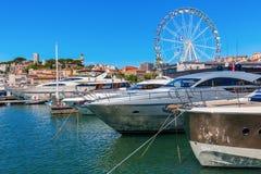 Porto de Cannes, dAzur da costa, França Imagem de Stock