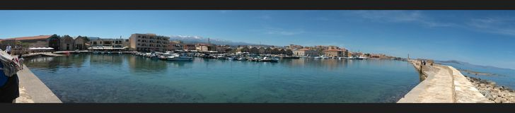 Porto de Chania do panorama, Grécia Fotos de Stock