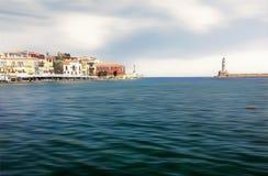 Porto de Chania na Creta, Grécia foto de stock
