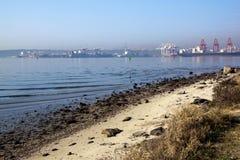 Porto de Durban dos navios de carga na maré baixa Imagem de Stock Royalty Free