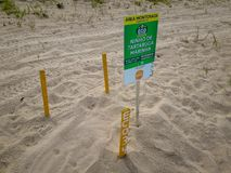 Porto de Galinhas, Brazil, March 16, 2019 - Seaturtle nest protected by a barrier in Brazil stock image
