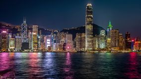 Porto de Hong Kong no timelapse da noite video estoque