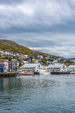 Porto de Honningsvag na marca finlandesa, Noruega Fotografia de Stock Royalty Free