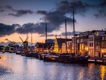 Porto de Leiden após o por do sol Foto de Stock Royalty Free