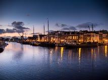 Porto de Leiden após o por do sol Imagem de Stock