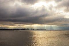 Porto de Liepaja com guindastes do porto Fotografia de Stock Royalty Free