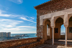Porto de Malaga do castelo de Alcazaba Imagem de Stock Royalty Free