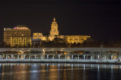 Porto de Malaga na noite Foto de Stock Royalty Free