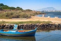Porto de Mozia, nos pântanos de sal do marsala foto de stock