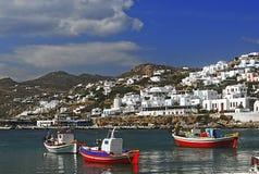 Porto de Mykonos, Grécia Imagens de Stock Royalty Free