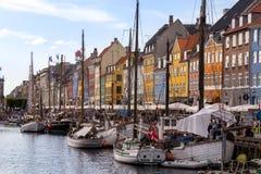 Porto de Nyhavn em Copenhaga, Dinamarca Imagens de Stock Royalty Free