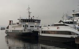 Porto de Oslo com balsas Imagem de Stock Royalty Free