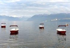 Porto de Ouchy no lago geneva em Lausana, Suíça imagem de stock royalty free