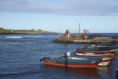 Porto de pesca, Hanga Roa, Ilha de Páscoa, o Chile Imagens de Stock Royalty Free