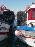 Porto de pesca de Quateira - redes de pesca imagens de stock royalty free