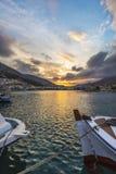 Porto de Pothia no por do sol, Kalymnos Grécia Fotos de Stock
