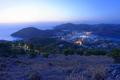 Porto de Skala na ilha de Patmos fotos de stock royalty free