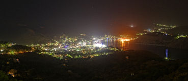 Porto de Skala na ilha de Patmos fotografia de stock