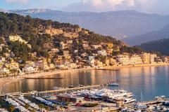 Porto de Soller no por do sol, Majorca Foto de Stock Royalty Free