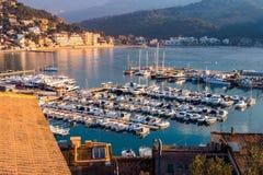 Porto de Soller no por do sol, Majorca Imagem de Stock
