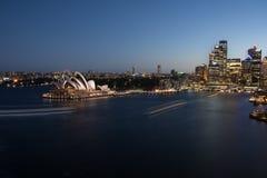 Porto de Sydney em Noite Foto de Stock Royalty Free