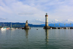 Porto del lindau, il lago di Costanza, Germania Immagini Stock Libere da Diritti
